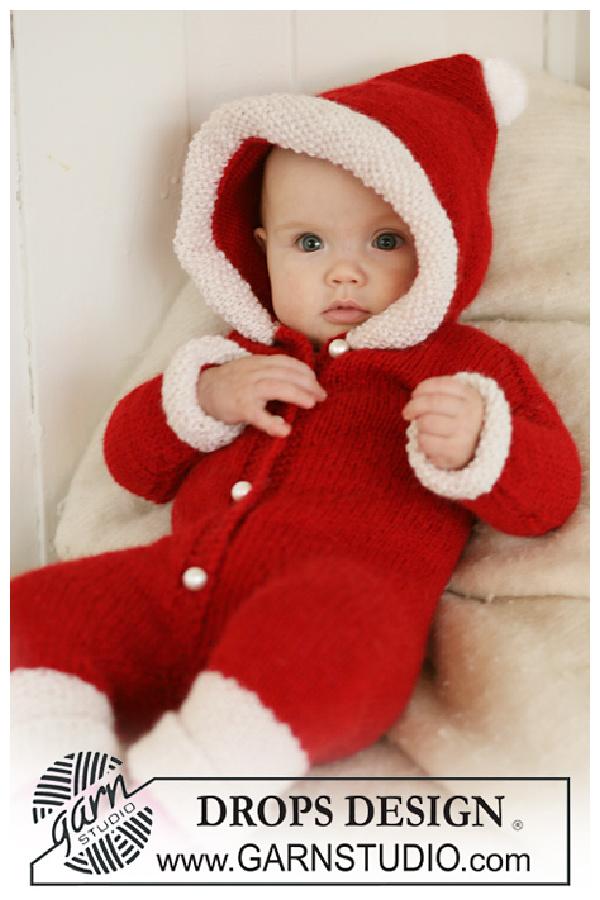 Santa baby Onesie with Hood Free Knitting Pattern