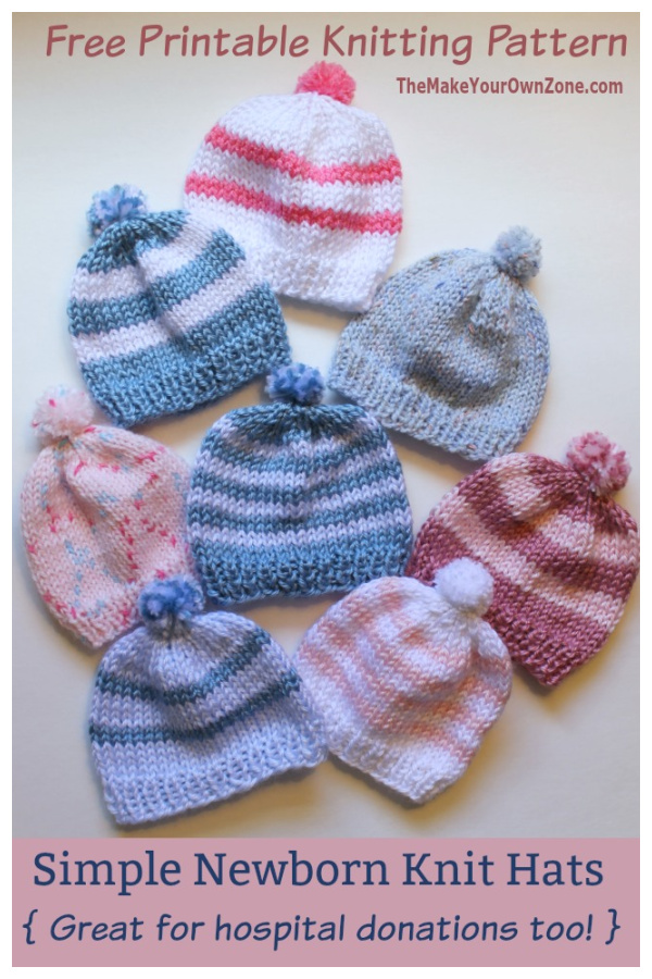 Simple Striped Hat Free Knitting Pattern