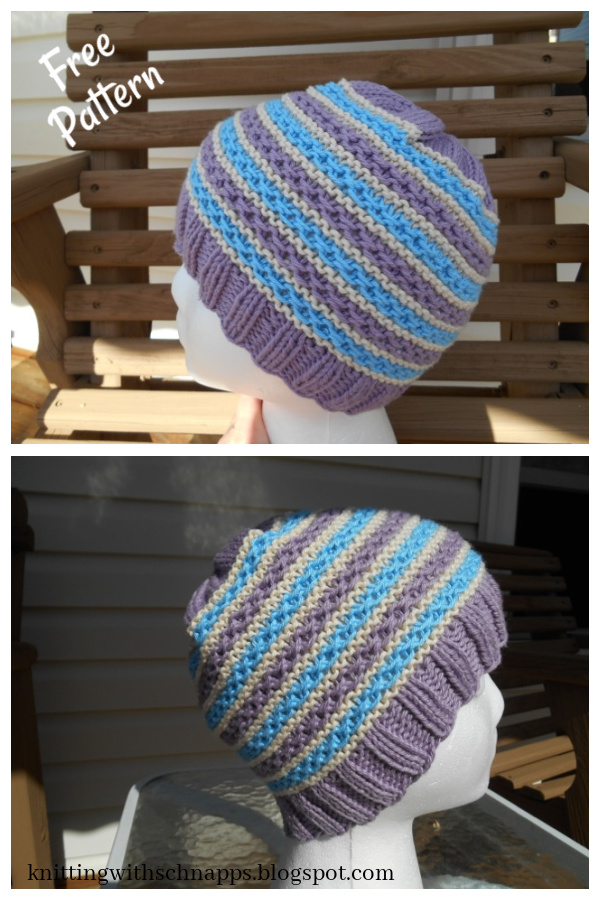 Springtime Stripes Hat Free Knitting Pattern