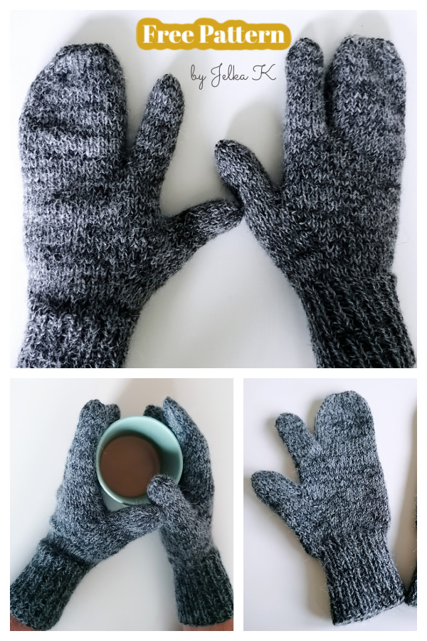 Three Finger Gloves Free Knitting Pattern