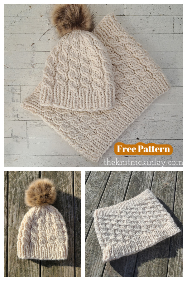 Beacon Cable Hat and Cowl Set Free Knitting Pattern