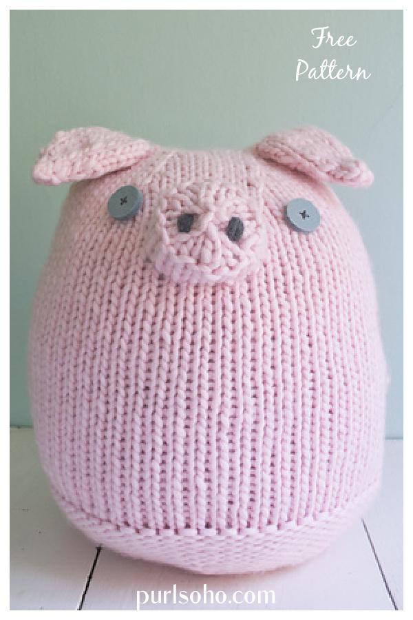Big Pink Pig Free Knitting Pattern