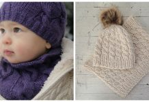 Cable Hat and Cowl Set Knitting Patterns