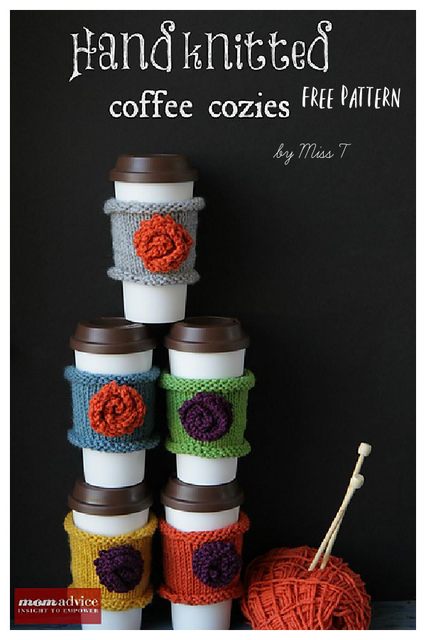 Coffee Cozy with Flower Free Knitting Pattern