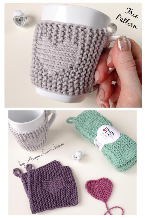 CupHeart Mug Cozy Free Knitting Pattern