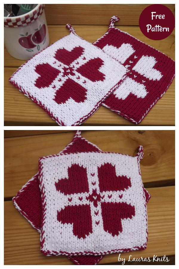 Double Knit Valentine's Day Potholder Free Knitting Pattern