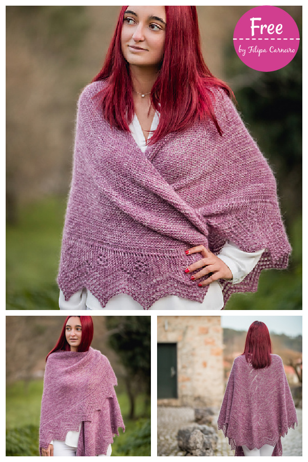 Douro Lace Edge Triangular Shawl Free Knitting Pattern