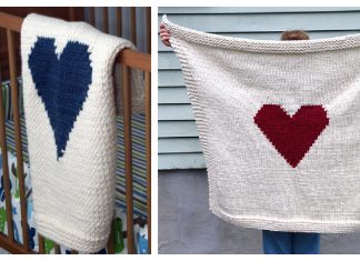Heart Blanket Free Knitting Pattern