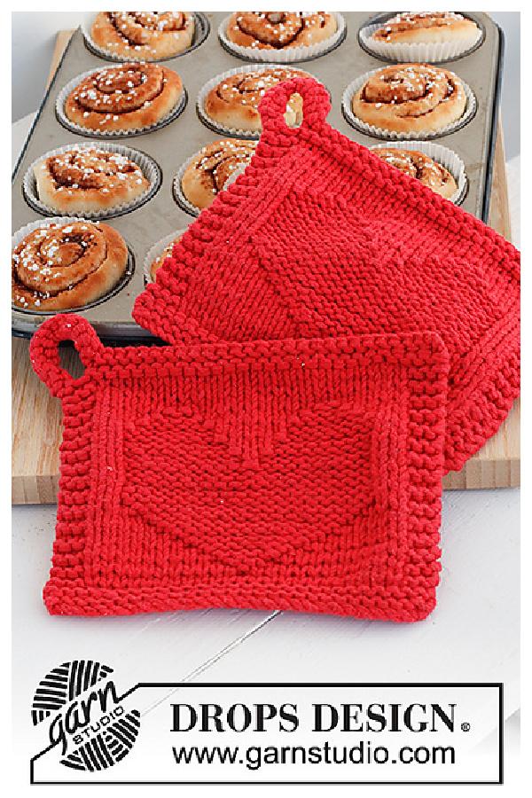 Heart of the Morning Valentine's Day Potholder Free Knitting Pattern