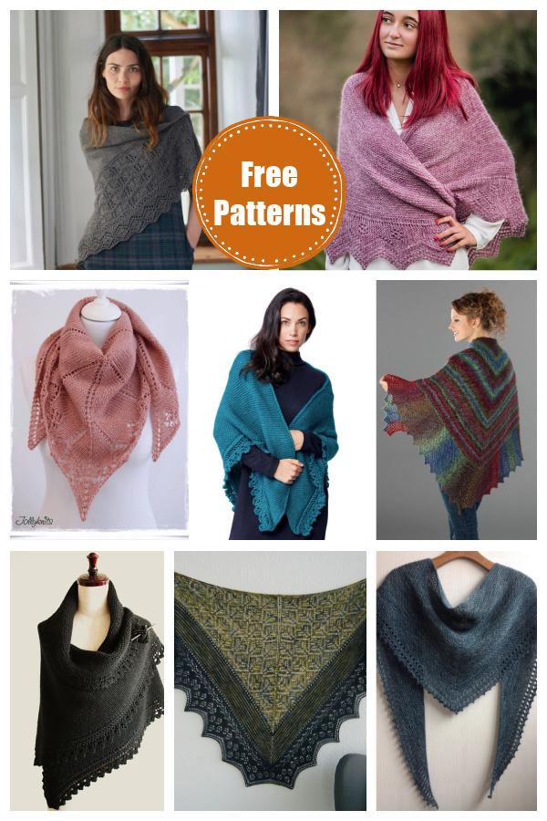 Lace Edge Triangular Shawl Free Knitting Patterns
