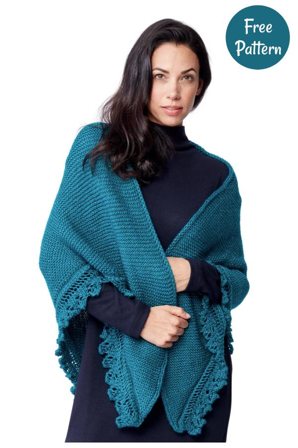 Lacy Edged Shawl Free Knitting Pattern