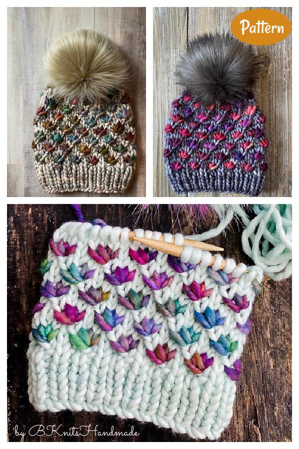 Lotus Flower Beanie Knitting Pattern