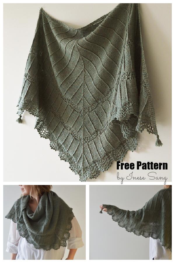 Migla Lace Edge Triangular Shawl Free Knitting Pattern