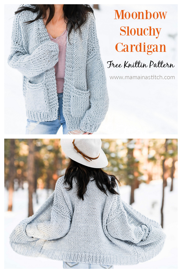 Moonbow Slouchy Cardigan Free Knitting Pattern