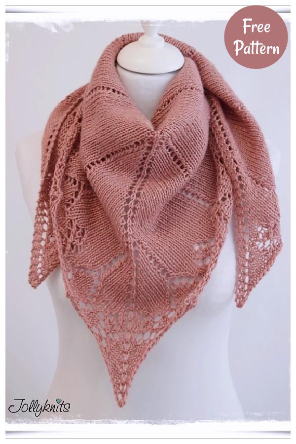 My First Lace Triangular Shawl Free Knitting Pattern