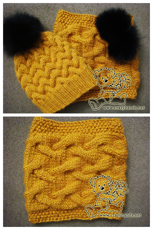 Sandy Cable Hat and Cowl Set Free Knitting Pattern
