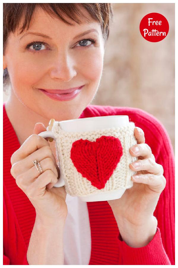 Valentine Mug Hug Free Knitting Pattern