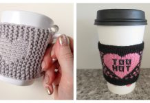 Valentine's Day Cup Cozy Free Knitting Patterns
