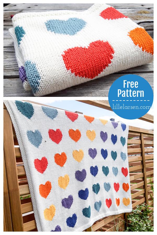 Zoe Heart Blanket Free Knitting Pattern