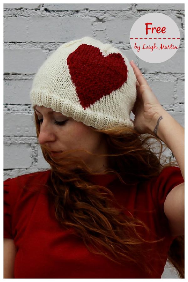 Big Heart Beanie Free Knitting Pattern