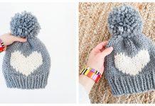 Big Heart Hat Free Knitting Pattern