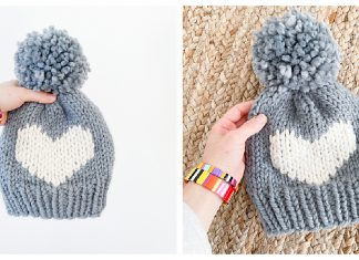 Big Heart Hat Free Knitting Pattern