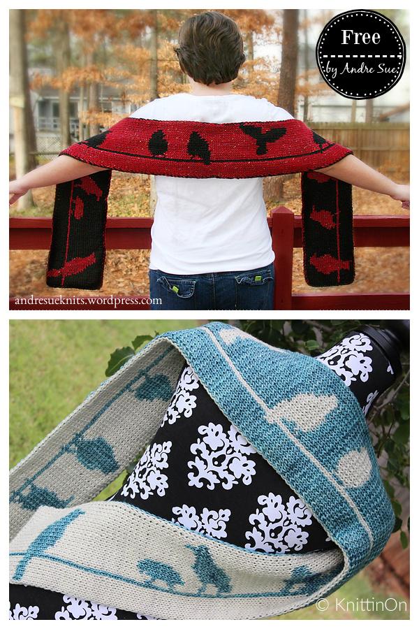 Birds Double Knit Scarf Free Knitting Pattern