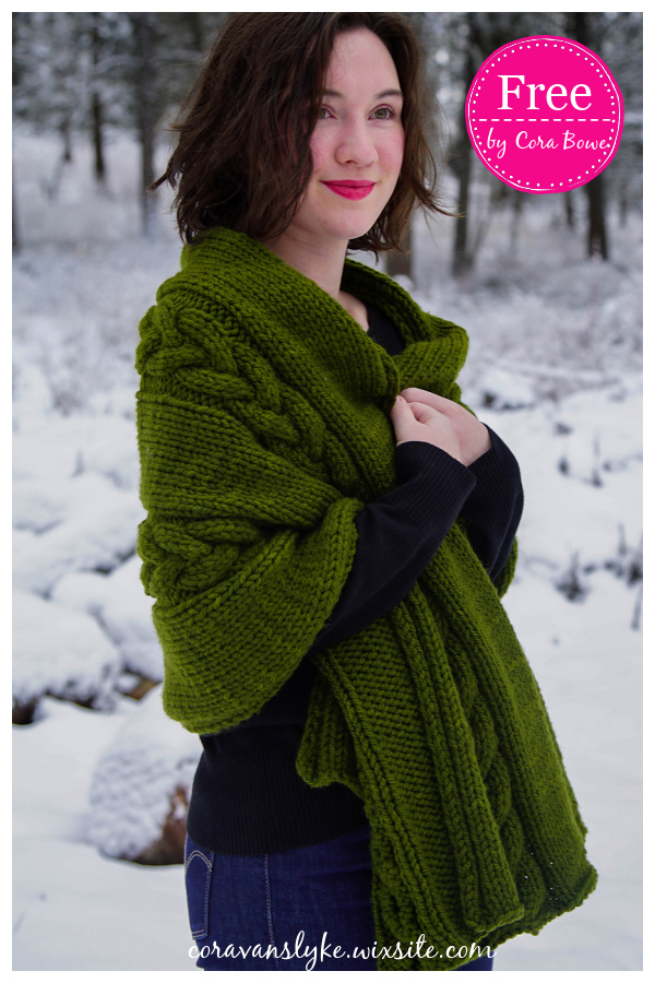 Chunky Cable Wrap Free Knitting Pattern