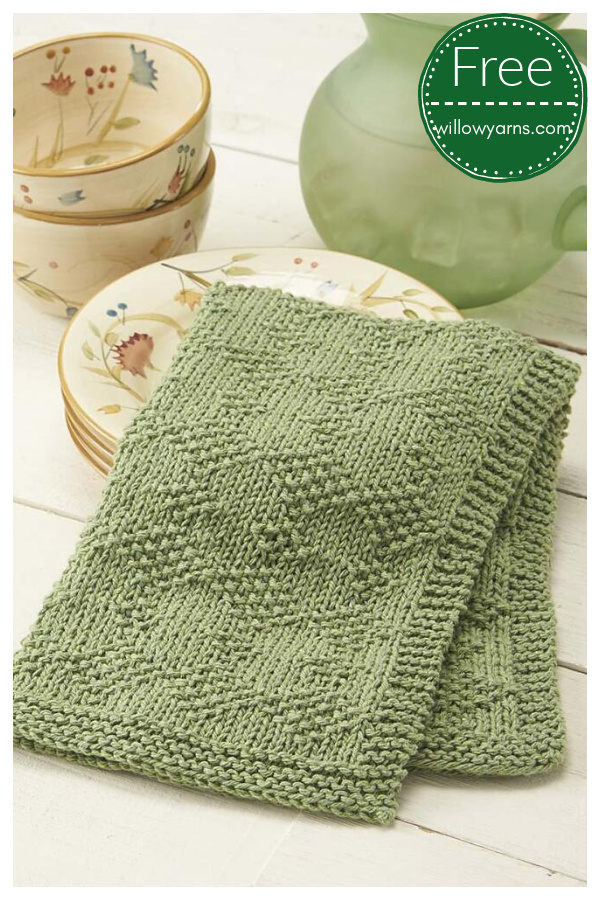 Diamond Dish Towel Free Knitting Pattern