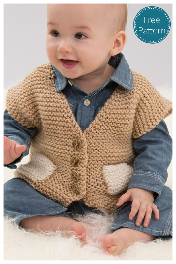 Easy Pocketed Baby Vest Free Knitting Pattern