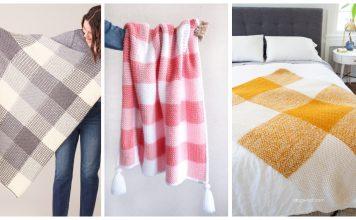 Gingham Blanket Free Knitting Pattern