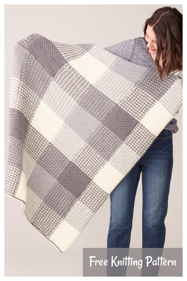 Gingham Panels Blanket Free Knitting Pattern