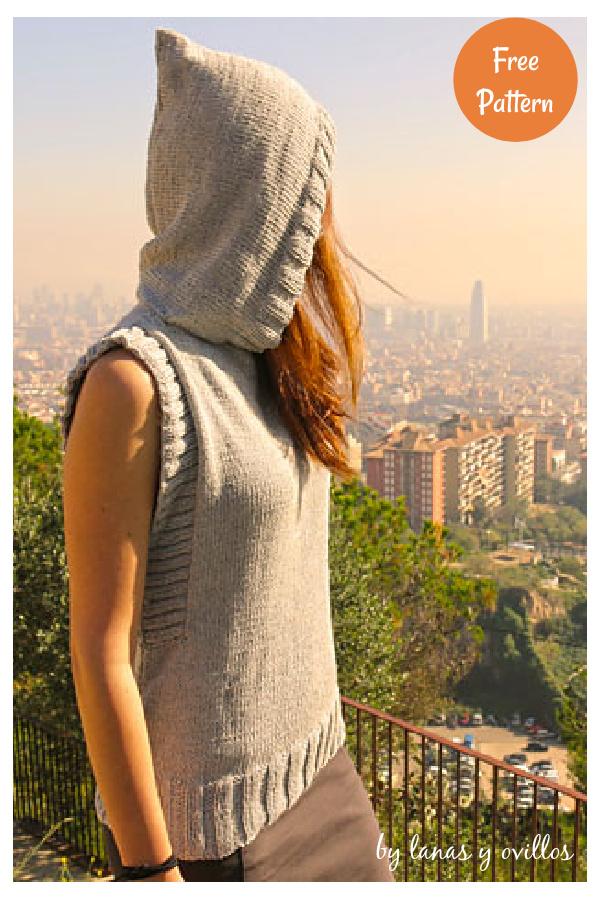 Hooded Vest Free Knitting Pattern