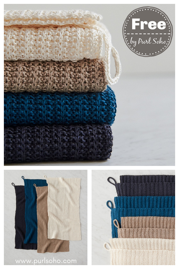 No-Purl Rib Hand Towel Free Knitting Pattern