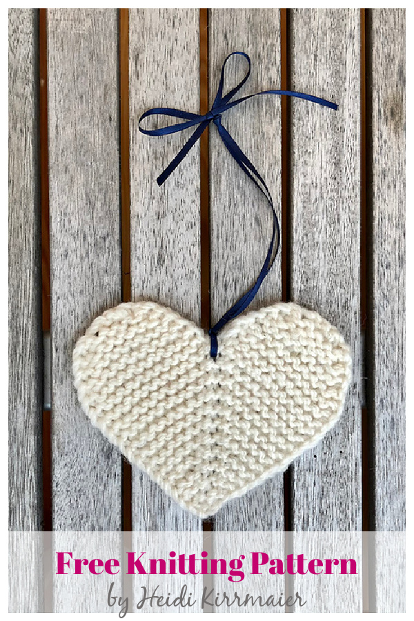 Rustic Little Flat Heart Free Knitting Pattern