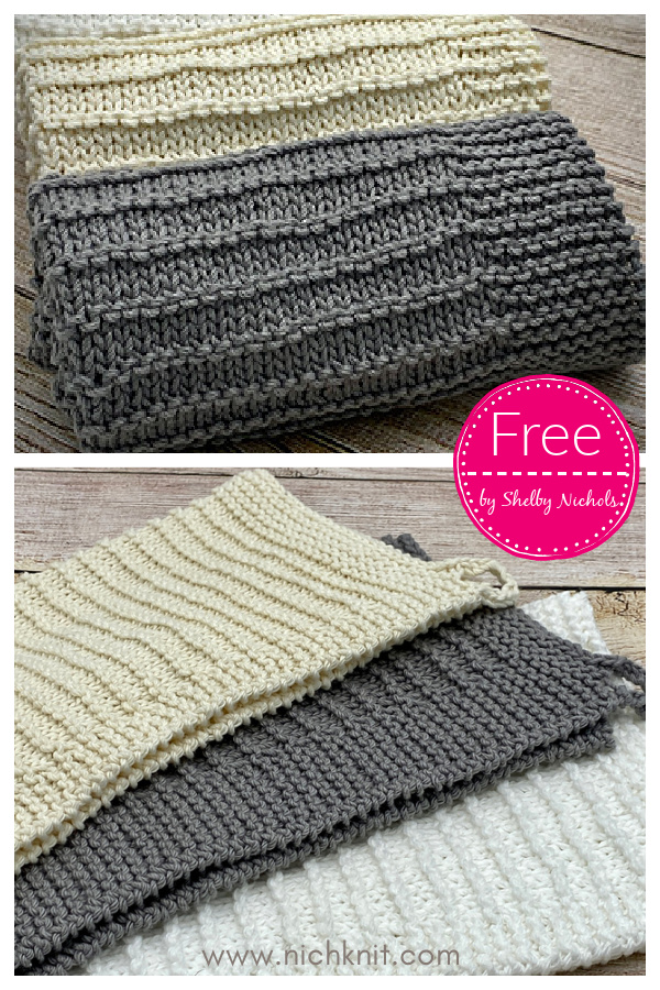 Simple Lines Dish Towel Free Knitting Pattern