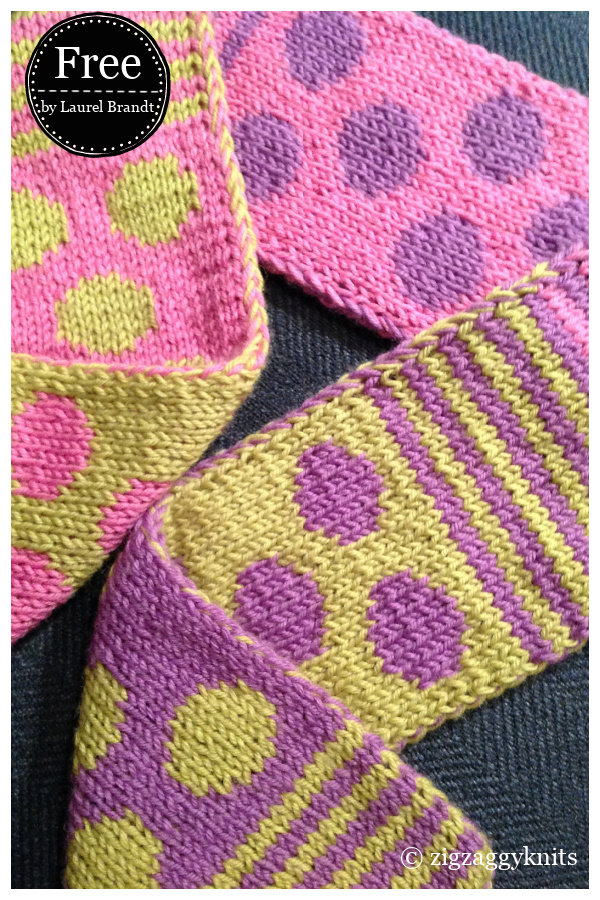 Striped & Spotted Double Knit Scarf Free Knitting Pattern