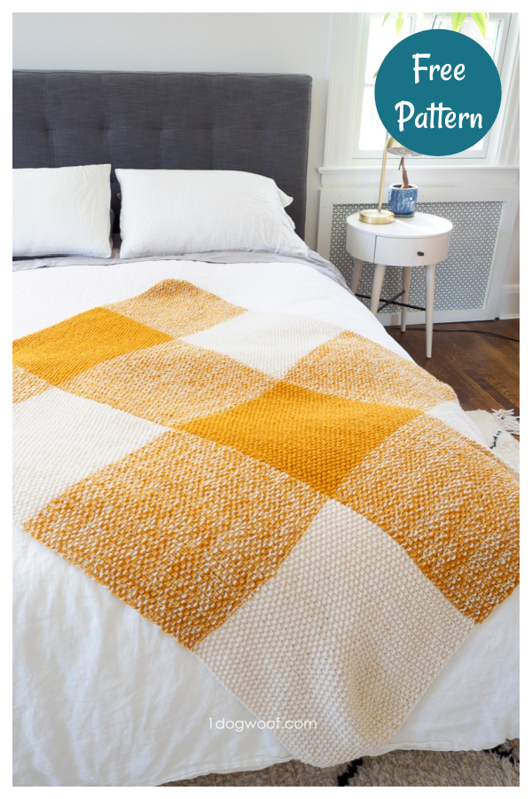 Terra Buffalo Plaid Blanket Free Knitting Pattern