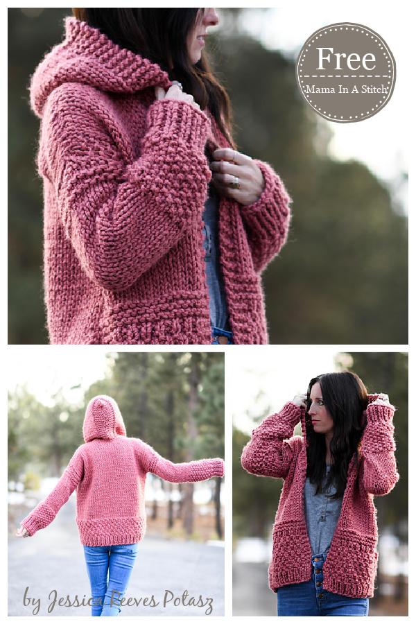 Tierra Stitchy Hoodie Cardigan Free Knitting Pattern