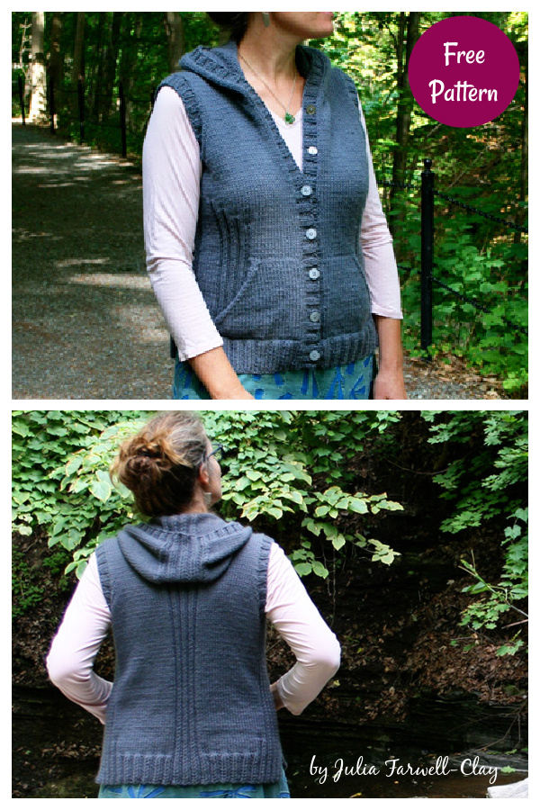 Viatori Hooded Vest Free Knitting Pattern