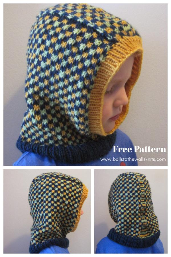 Kids' Dice Check Balaclava Free Knitting Pattern