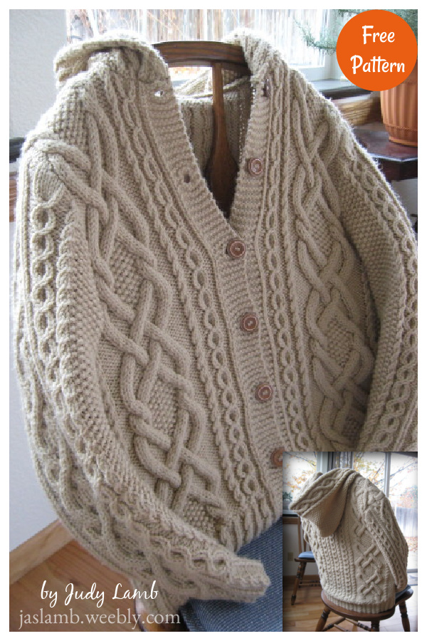 Whitney Double-X Hooded Cardigan Free Knitting Pattern