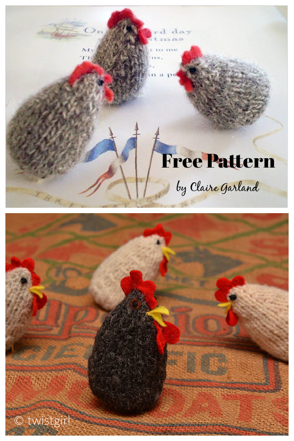 3 French Hens Free Knitting Pattern