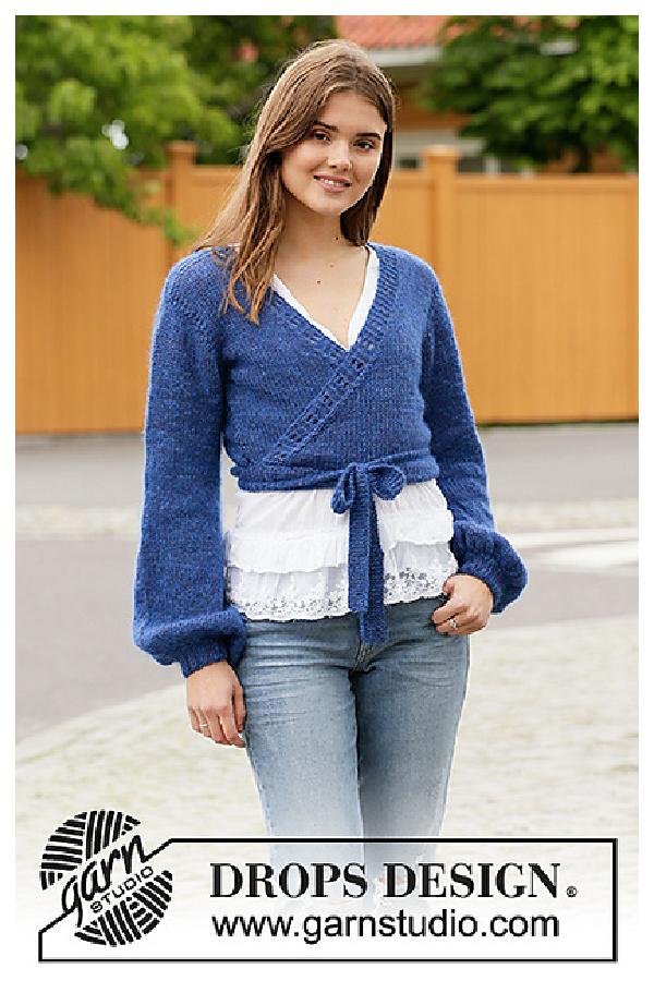 Ballet in Blue Wrap Top Free Knitting Pattern