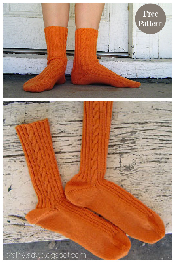 Basic Cabled Socks Free Knitting Pattern