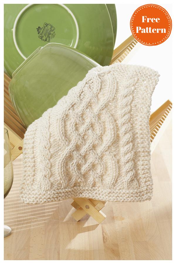 Modèle de tricot gratuit de torchon celtique de câbles