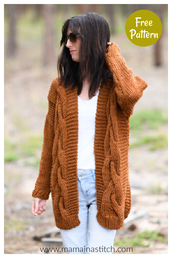 Easy Cable Cardigan Free Knitting Pattern