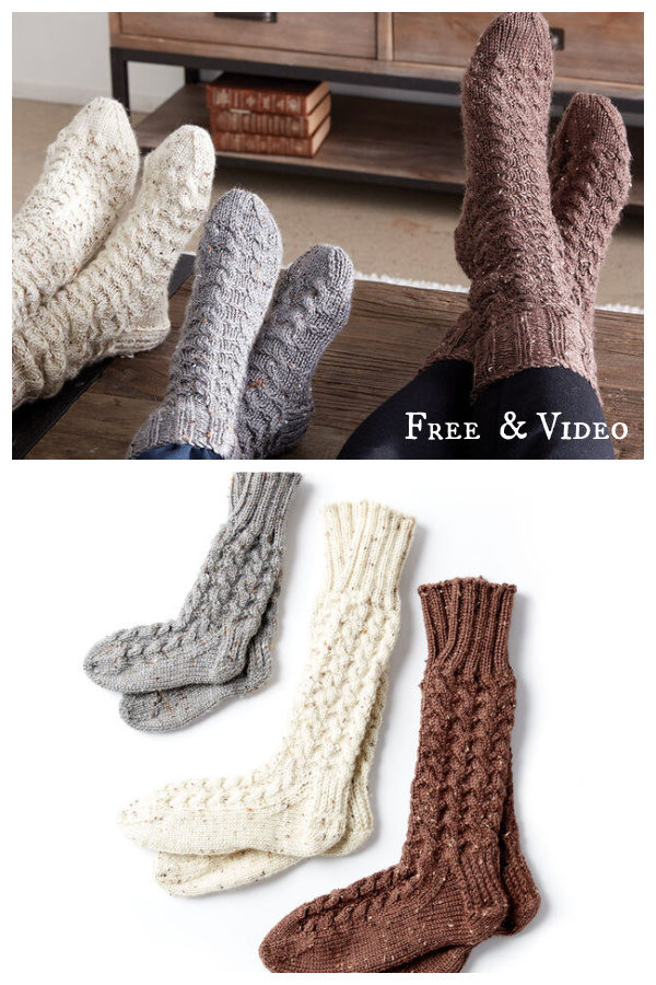 Family Cable Socks Free Knitting Pattern and Video Tutorial