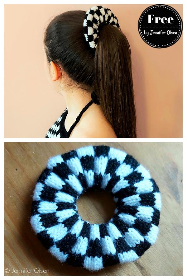 Harmon Checkerboard Scrunchie Free Knitting Pattern