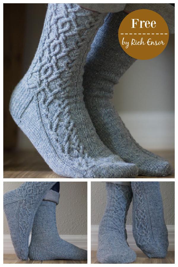 Intermingle Cabled Socks Free Knitting Pattern